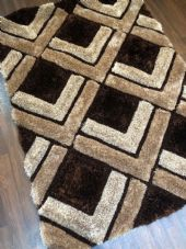 NEW WOVEN RUGS HAND CARVED APPROX 6X4FT 120X170CM BROWN GREAT QUALITY 3D RUGS
